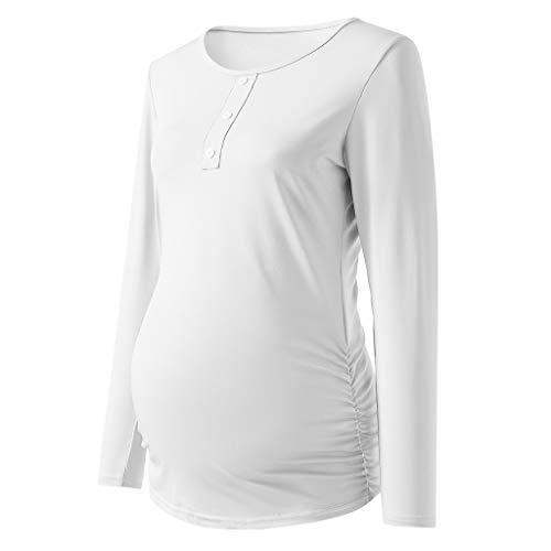 Amphia - Gestreiftes langärmliges Damen TopFrauen Mutterschaft Button Shirt Langarm Basic Top T-Shirt für Schwangere Kleidung - (Weiß,S) (Mutterschaft Weißen Button Shirts)