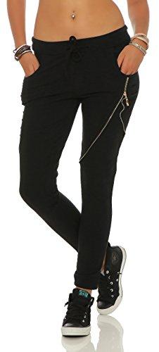 Mr. Shine Damen Stylische baggy Jogginghose für Damen mit einschnitten Reißverschluss und strech Bund (XL, Schwarz)