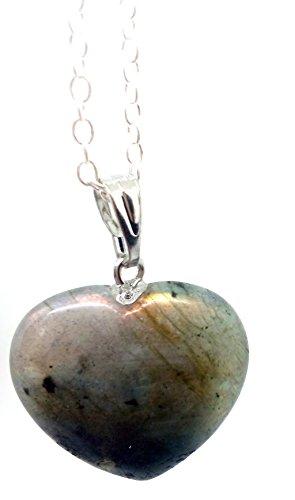 Colgante corazon labradorita minerales