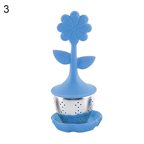 WFZ17 Flower Silicone Steel Tea Filters Loose Leaf Tea Infuser Strainers Interval Diffuser for Tea