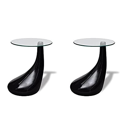 vidaXL Drop Coffee Table White / Black Selectable High-gloss Safety Glass 55 cm produced by vidaXL - quick delivery from UK.