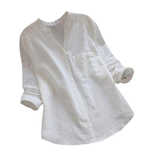GJKK Bluse Damen Herbst Baumwolle Leinen Shirt Casual Solid Langarmshirt Bluse Button Down Tops Oberteil Partytop Hemd Lose Langshirt Tunika -