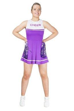 Monster Lila weißes Cheerleader Kostüm Größe XS Damen Karneval 50102 Pompoms