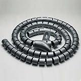InstallerParts 15mm Spiral Cable Wrap Desktop Computer Cable Management, Black (1.5M)