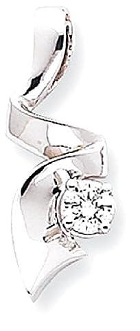 IceCarats 14k White Gold Diamond Slide Omega