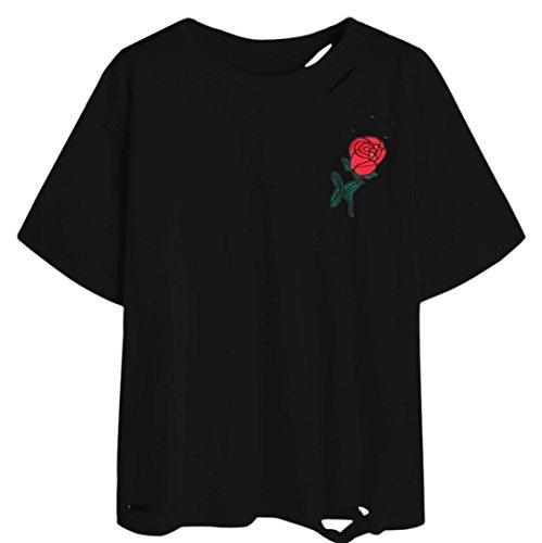 WOCACHI Damen Sommer T-Shirts Frauen Sommer Eine Rose Stickerei Bedruckte Bluse Kurzarm O-Ausschnitt Tops T-Shirt (M, Schwarz-08) (08 Langarm-t-shirt)