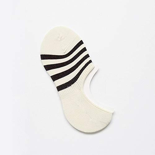 (MZWZSCL Herren Baumwolle Grob Gestreift Niedrige Bootssocken Atmungsaktiv Flach Unsichtbar Silikon Rutschfeste Socken (5Pcs Set), Milch Weiß 4)