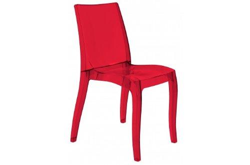 Grandsoleil Upon Crystal Light Chaise empilable en Polycarbonate, Transparent, Rouge Rubis, 54 x 50 x 84 cm