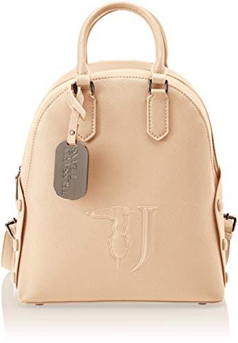 Trussardi jeans melissa backpack covered studs, zaino donna, (beige on tone), 26.5x30x11 cm (w x h x l)