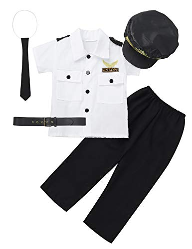 Agoky Kinderkostüme Jungen Pilot Uniform Pilotenkostüm Set aus Mütze + Hemd + Hose + Krawatte + Gürtel Cosplay Verkleidung Weiss&Schwarz 98-104/3-4 Jahre