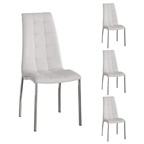 Juego de 4 sillas de Comedor Valma, Tapizada Polipiel y Patas cromadas (Blanco)