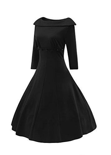 LUOUSE Damen Rockabilly 3/4 Hülsen Swing Vintage Kleid Schwarz