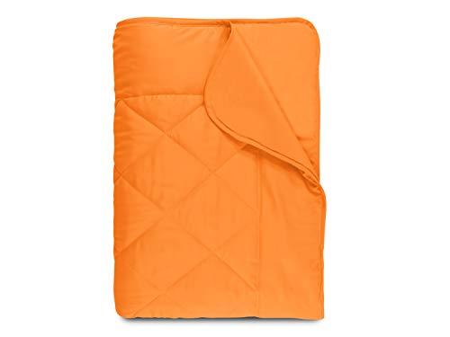 npluseins Sommerdecke - Picknickdecke - Leichtbettdecke - in 2 Größen und in 7 modernen Farben, ca. 135 x 200 cm, orange