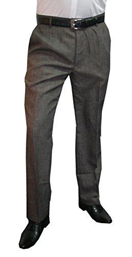 Mens Fashion Herren Anzughose Hose mit Bundfalte / in untersetzten und normalen Größen (Gr. 23-33 / 44-62) / verschiedene Farben Grau-Braun