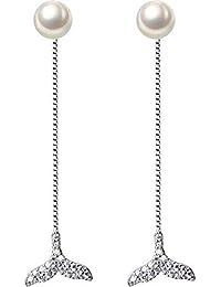 7f8166ed7 O YQ S925 Aretes de Plata Mujer Soñadora Sirena Cola Pendientes Abalorios  Joyería de Perlas Sintéticas