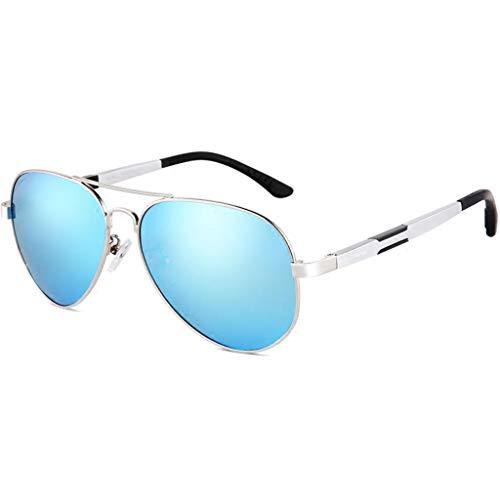 Classic Aviator Sunglasses, Polarized, UV400 Augenschutz, Men & Women Fashion Driving Glasses Silver Frame - Blue Lens