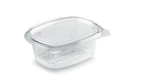 Tablett oval in OPS–CC 500–Box von 100Stück feine Einweg Transparent mit Deckel Vereinigte–Behälter EINWEG-Kunststoff mit Klapptür und dicht–Ideal für Aufbewahrung in Kühlschrank Obst, Pasta und Salat und als Obstschale,-Pasta und Salat (Kunststoff-einweg-behälter)