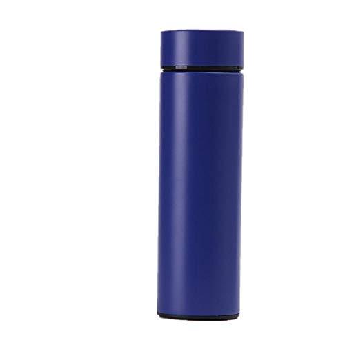 DZSLTC Doppelwandig Vakuum Isolierte Trinkflasche aus hochwertigem 18/8 Edelstahl, 24h Kalt & 12h Heiß - Perfekt für den Freizeit, Camping, Fitness@Blau_500ml (Recyclebare Trinkbecher)