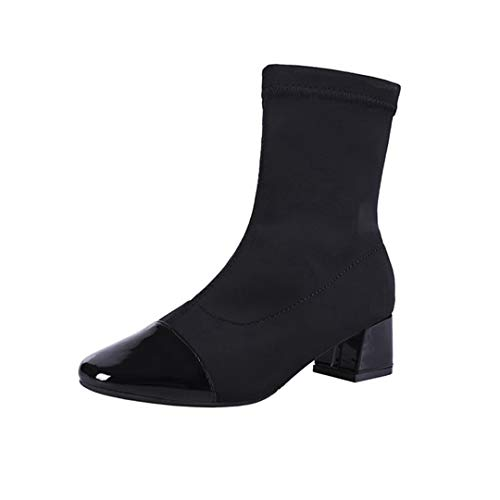 OLADO Women's Mid Heel Winter Black Ankle Boots Breath Eleganter Slip-On Short Bootie