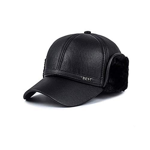 Meaeo Herrenhut Hochwertige Pu-Baseballkappen Herren Exquisite Bone-Hüte Chapeu Mit Ohrenklappen Freizeit Für Den Mann, A