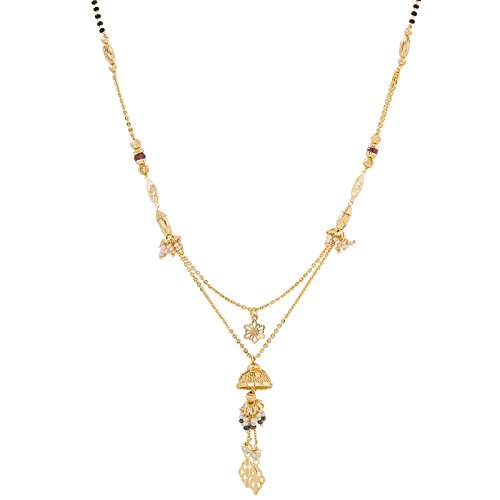 Aadita Fashion Jewellery Multi Strand Heavy Gold Plated Mangalsutra for Women