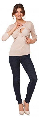 Happy Mama. Femme Top de maternité d'allaitement double couches col rond. 988p Beige