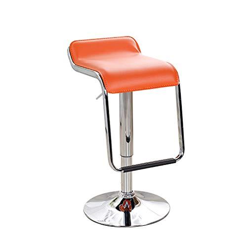BAR STOOL Barhocker, Barhocker PU Leder Sitzhöhe einstellbar und 360 Grad Swivel Hocker Stehtische und Stühle Multi-Color optional (Farbe : Orange) -