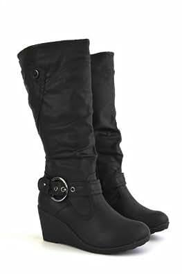 Tilly London Women's Boots Schwarz Halber Nylon / Kunstleder Stretch