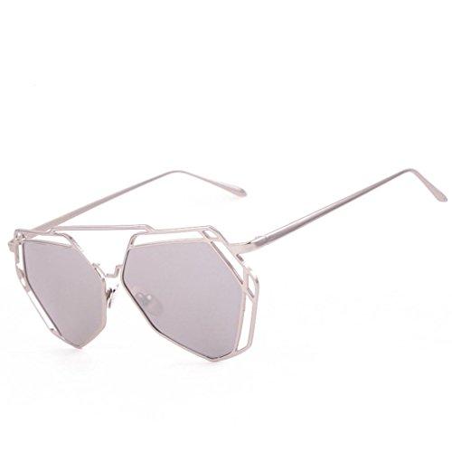 ?Amlaiworld sommer Unregelmäßig Metall Rand Rahmen Sonnenbrille herren damen outdoor mode brillen Vintage Polarisierte reflektierenden Fahrbrille sport hohl Sunglasses (E)