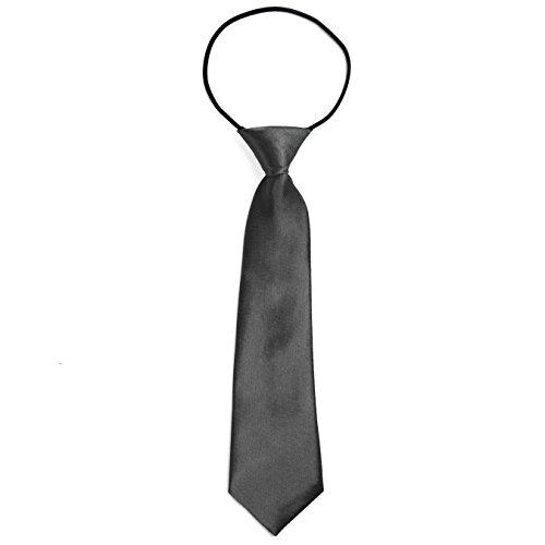 DonDon® Jungen Krawatte Kinder Krawatte im Seidenlook glänzend - 7,0 cm breit - mit elastischem Gummiband - Anthrazit