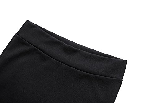 Damen Midi Rock Stretch Figurbetont Business Bleistift Röcke (M, schwarz) -