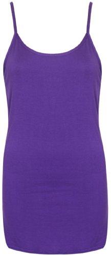 Femmes Neuf Sans Manche Uni Femme Extensible Rond Encolure Ronde Long à lanières T-Shirt Camisole Débardeur Pourpre