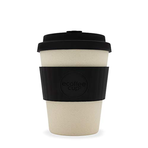 Ecoffee Cup Noir Nature 340,2 gram/340 ML Noir et crème | réutilisable en Bambou Tasse à café