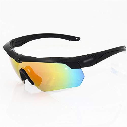 Chengleilei Reitbrille Motorradbrille Sport Sonnenbrille Mit 5 Linsenkits, Polarisiert (Farbe : Gelb)