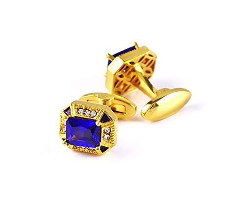 KnBoB Herren Manschettenknöpfe Achteck Zirkonia Gold Blau Manschettenknöpfe Herren Formell Kleidung Kostüm Hemden Hochzeit