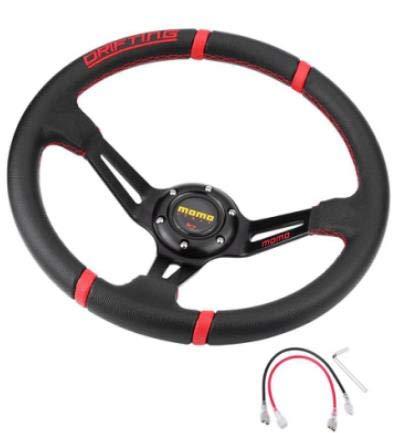 Volant de Course Universel avec klaxon Rouge et Noir 35 cm