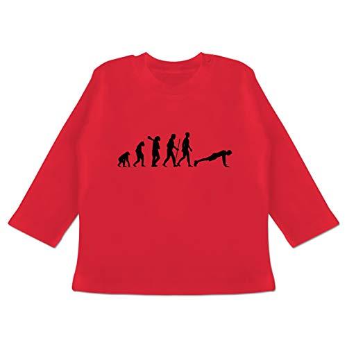 Evolution Baby - Liegestütze Evolution - 3-6 Monate - Rot - BZ11 - Baby T-Shirt Langarm