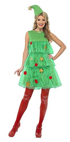 Smiffys, Damen Weihnachtsbaum Kostüm, Kleid und Mütze, Größe: M, (Weihnachtsbaum Kostüm Kleid)