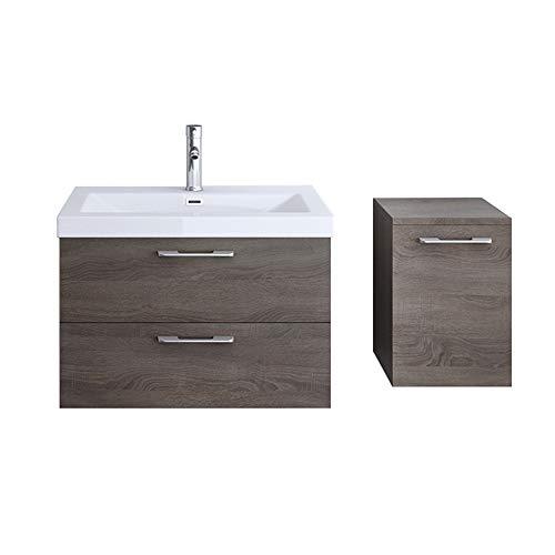 Meuble de salle de bains ensemble de 3-pièces, meuble sous vasque , vasque 76,5cm et rangements complémentaires droite Bavaria
