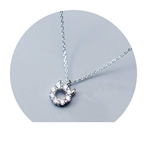 925 Sterling Silber süßer Teufel CZ Anhänger kurz Schlüsselbein Halskette für Frauen Mädchen 925 (Herr Maker Formen Kostüm)