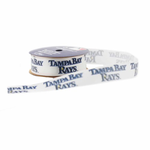 Zipperstop Offray MLB Tampa Bay Rays Fabric Ribbon, 7/8-Inch by 9-Feet, White/Blue