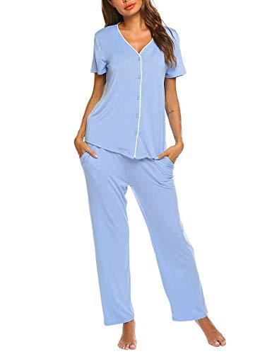 Pyjama Set Damen Sommer/Frühling Klassische Schlafanzug Viskose V-Ausschnitt Zweiteiliges - Luxus Nachtwäsche