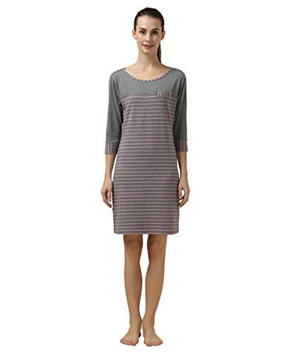 Suntasty Damen Nachthemd gestreifter Nachtkleid - kurz Sleepshirt Baumwolle 3/4-Ärmel Negligee Schlafkleid Nachtwäsche(Rosa,M,1048W) (Aus Damen-sleepshirts Baumwolle)