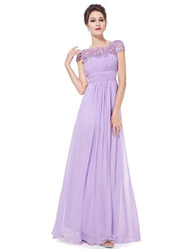 Ever Pretty Damen Lace Rueckseite Offen Chiffon Lange Brautjungfernkleid Abendkleider 38 Lavendel...