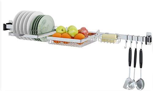 QYJpB Rangement Cuisine Soap Cuisine Rack 304 en acier inoxydable de vidange vaisselle Fruit Basket mural multi-fonctions de stockage Accueil gratuit punch Support à cuisine