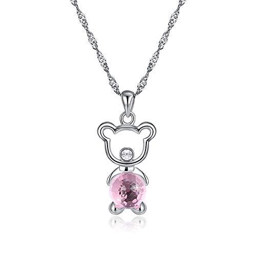 Nsxlscl girocollo collane moda per donne argento sterling 925 simpatico ciondolo forma orso forma collana accessori donna, rosa
