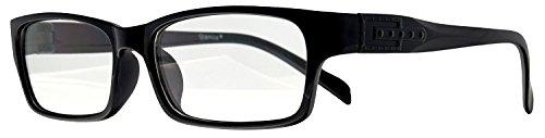 Retro Nerd Brille Klar - Die neue Kollektion - Wayfarer Brillenform für Sie und Ihn (Schwarz-Schmal, 55) (Schwarz-Schmal)