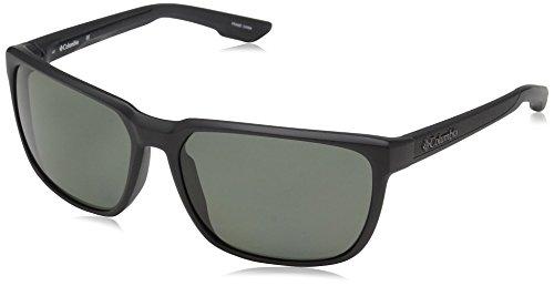 Columbia Men's Trail Warrior Polarized Rectangular Sunglasses, Matte Black, 60 mm