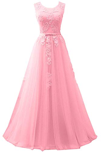 Carnivalprom Damen Spitze Applikationen Abendkleider Lang Hochzeit Partykleider Ballkleider(Rosa,32)