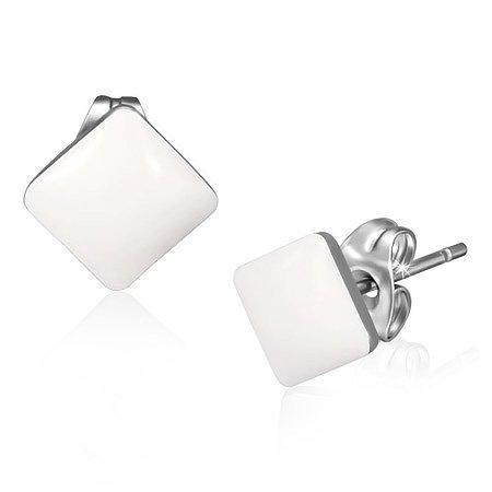Weißgold Quadrat Ohrstecker Ohrringe (Urban Male Poppigen Weiße Resin und Edelstahl Quadrat-geformte Ohrstecker 7mm, für Männer (Paar))